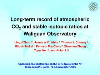 Long-term record of atmospheric CO 2  and stable isotopic ratios at Waliguan Observatory