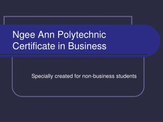 Ngee Ann Polytechnic Certificate in Business