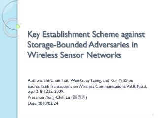 Key Establishment Scheme against Storage-Bounded Adversaries in Wireless Sensor Networks