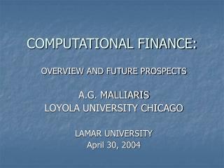 COMPUTATIONAL FINANCE: