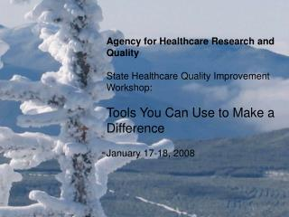 Agency for Healthcare Research and Quality State Healthcare Quality Improvement Workshop: