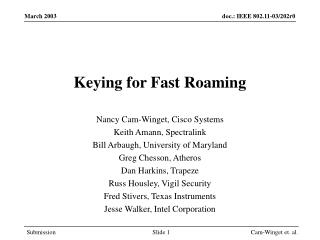 Keying for Fast Roaming