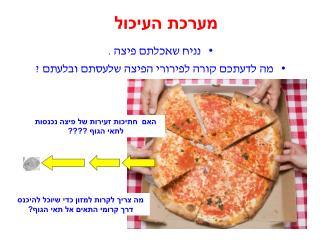 נניח שאכלתם פיצה .  מה לדעתכם קורה לפירורי הפיצה שלעסתם ובלעתם ?