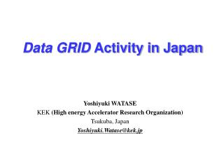 Data GRID  Activity in Japan