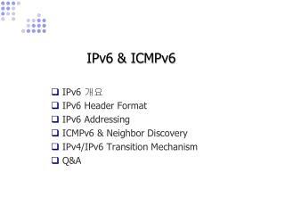 IPv6 & ICMPv6