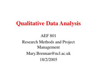 Qualitative Data Analysis