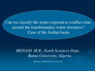Can we classify the zones exposed to conflict risks  around the transboundary water resources?
