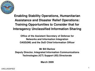 Enabling Stability Operations, Humanitarian Assistance and Disaster Relief Operations: