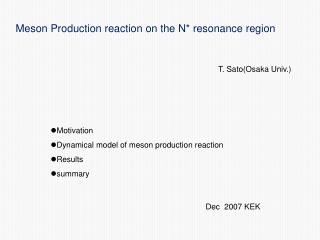 Meson Production reaction on the N* resonance region