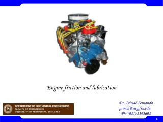 Engine friction and lubrication