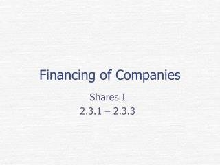 Financing of Companies