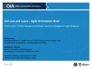 OIA Live and Learn – Agile Orientation Brief