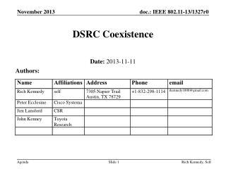 DSRC Coexistence