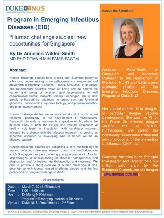 PMP PEID Poster Dr Annelies Wilder Smith March 7