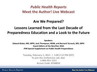 Public Health Reports Meet the Author! Live Webcast