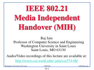 IEEE 802.21  Media Independent Handover (MIH)
