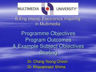 Programme Objectives Program Outcomes & Example Subject Objectives Briefing