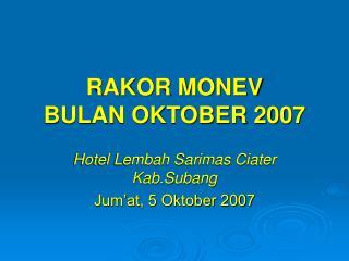RAKOR MONEV  BULAN OKTOBER 2007