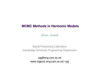 MCMC Methods in Harmonic Models