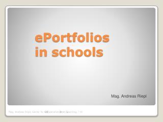 ePortfolios in  schools