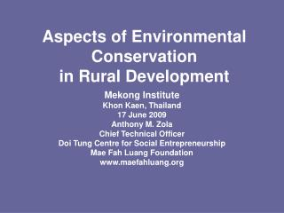 Aspects of Environmental Conservation  in Rural Development