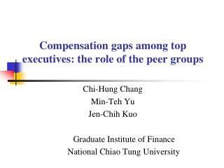 Compensation gaps among top executives: the role of the peer groups