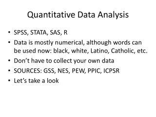 Quantitative Data Analysis