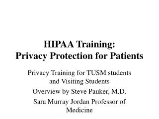 HIPAA Training: Privacy Protection for Patients