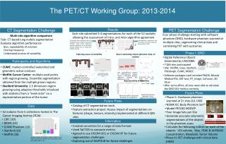 The PET/CT Working Group: 2013-2014