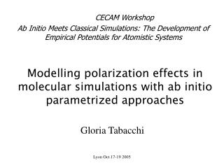 Modelling polarization effects in molecular simulations with ab initio parametrized approaches