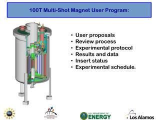 100T Multi-Shot Magnet User Program: