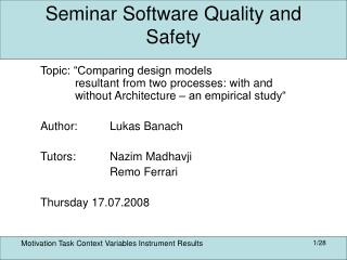 Seminar Software Quality and Safety