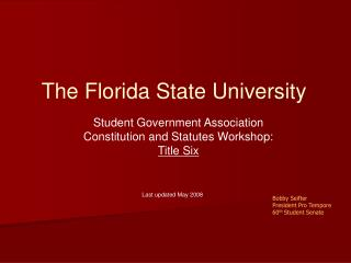 Student Government Association Constitution and Statutes Workshop: Title Six