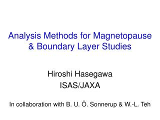 Analysis Methods for Magnetopause & Boundary Layer Studies