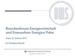Branchenforum Energiewirtschaft und Erneuerbare Energien Polen Wien, 21. Februar 2013