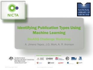 Identifying Publication Types Using Machine Learning BioASQ Challenge Workshop