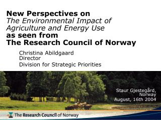 Christina Abildgaard Director 	Division for Strategic Priorities  Staur Gjestegård,  Norway
