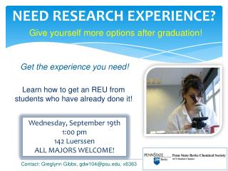 NEED RESEARCH EXPERIENCE?