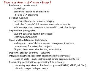 Faculty as Agents of Change – Group 2