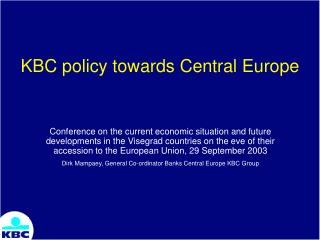 KBC policy towards Central Europe