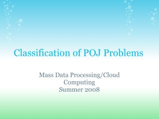 Classification of POJ Problems