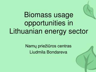 Biomass usage opportunities in Lithuanian energy sector