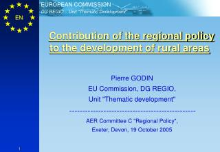 Contribution of the regional policy to the development of rural areas