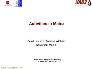 Activities in Mainz