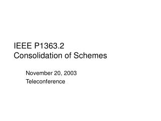 IEEE P1363.2 Consolidation of Schemes