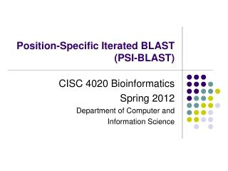 Position-Specific Iterated BLAST (PSI-BLAST)
