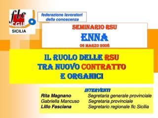 il ruolo delle  rsu tra nuovo  contratto e organici