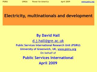 Electricity, multinationals and development