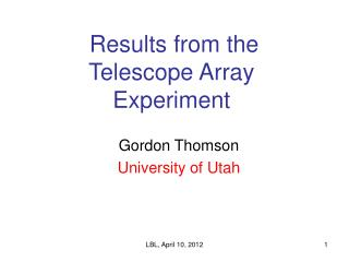 Results from the  Telescope Array Experiment