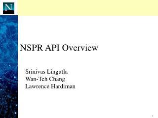 NSPR API Overview